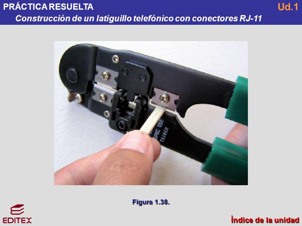 PRÁCTICA RESUELTA Construcción de un latiguillo telefónico con conectores RJ-11. Ud.1. Figura 1.38.