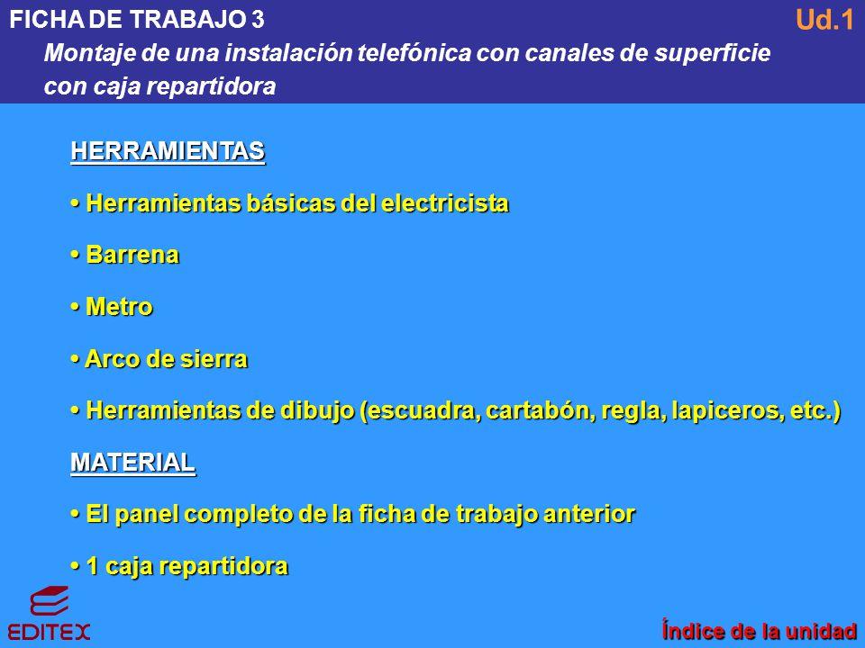 FICHA DE TRABAJO 3 Montaje de una instalación telefónica con canales de superficie. con caja repartidora.