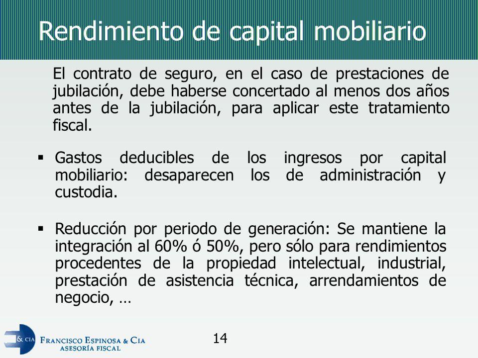 Rendimiento de capital mobiliario