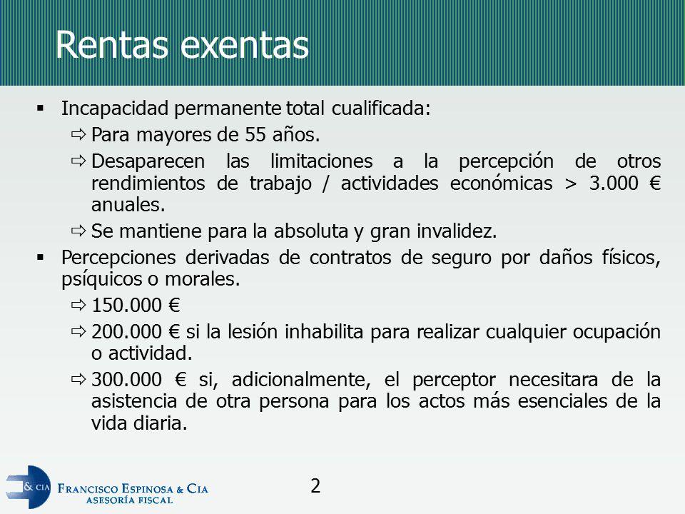 Rentas exentas Incapacidad permanente total cualificada: