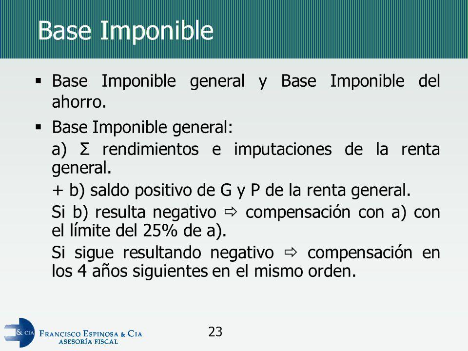 Base Imponible Base Imponible general y Base Imponible del ahorro.