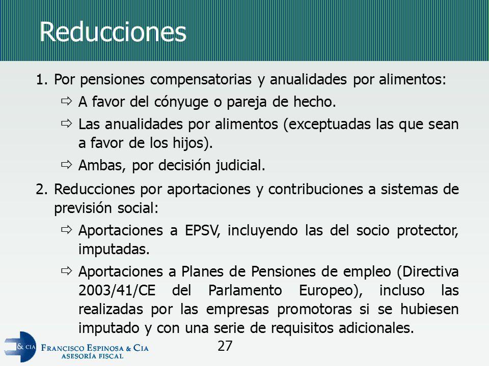 Reducciones Por pensiones compensatorias y anualidades por alimentos: