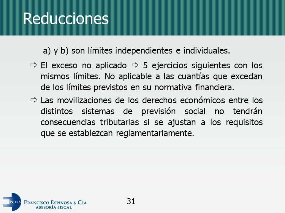 Reducciones a) y b) son límites independientes e individuales.