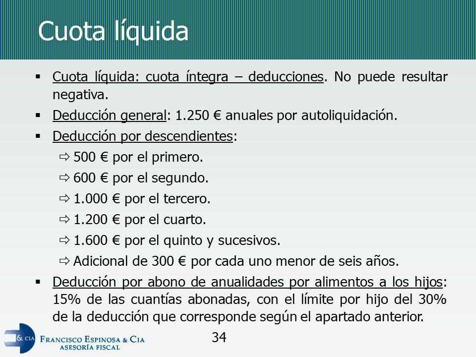 Cuota líquida Cuota líquida: cuota íntegra – deducciones. No puede resultar negativa. Deducción general: 1.250 € anuales por autoliquidación.