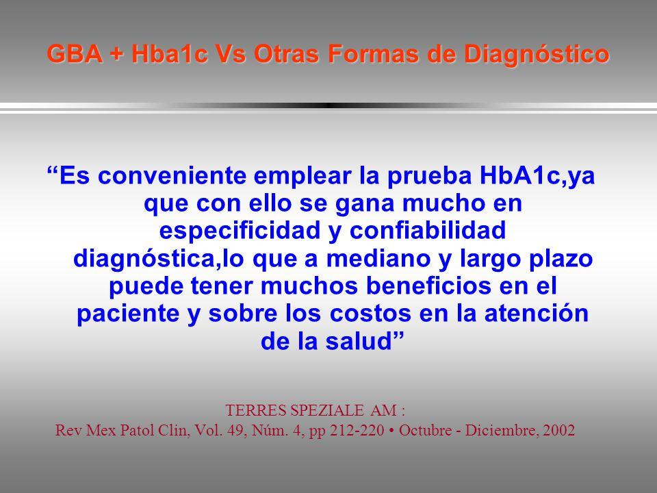 GBA + Hba1c Vs Otras Formas de Diagnóstico