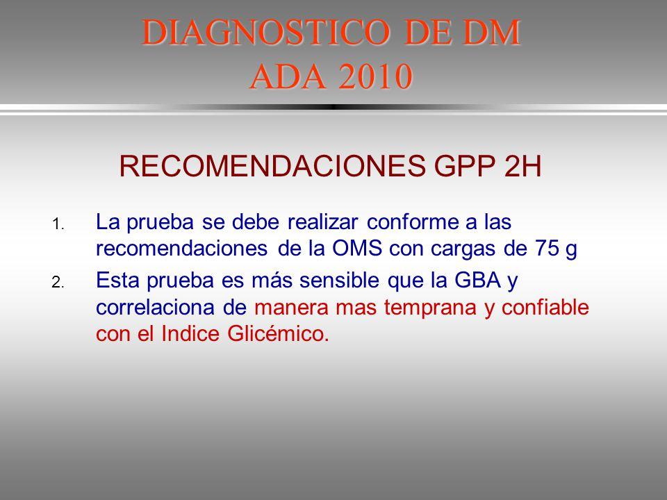 DIAGNOSTICO DE DM ADA 2010 RECOMENDACIONES GPP 2H
