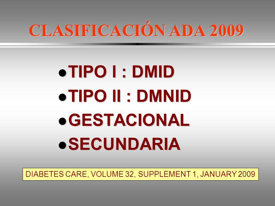 CLASIFICACIÓN ADA 2009 TIPO l : DMID TIPO lI : DMNID GESTACIONAL