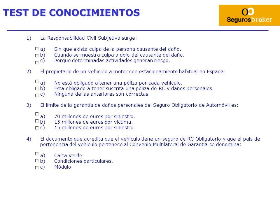 TEST DE CONOCIMIENTOS La Responsabilidad Civil Subjetiva surge: