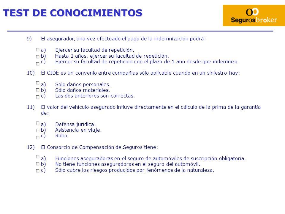 TEST DE CONOCIMIENTOS 9) El asegurador, una vez efectuado el pago de la indemnización podrá: Ejercer su facultad de repetición.