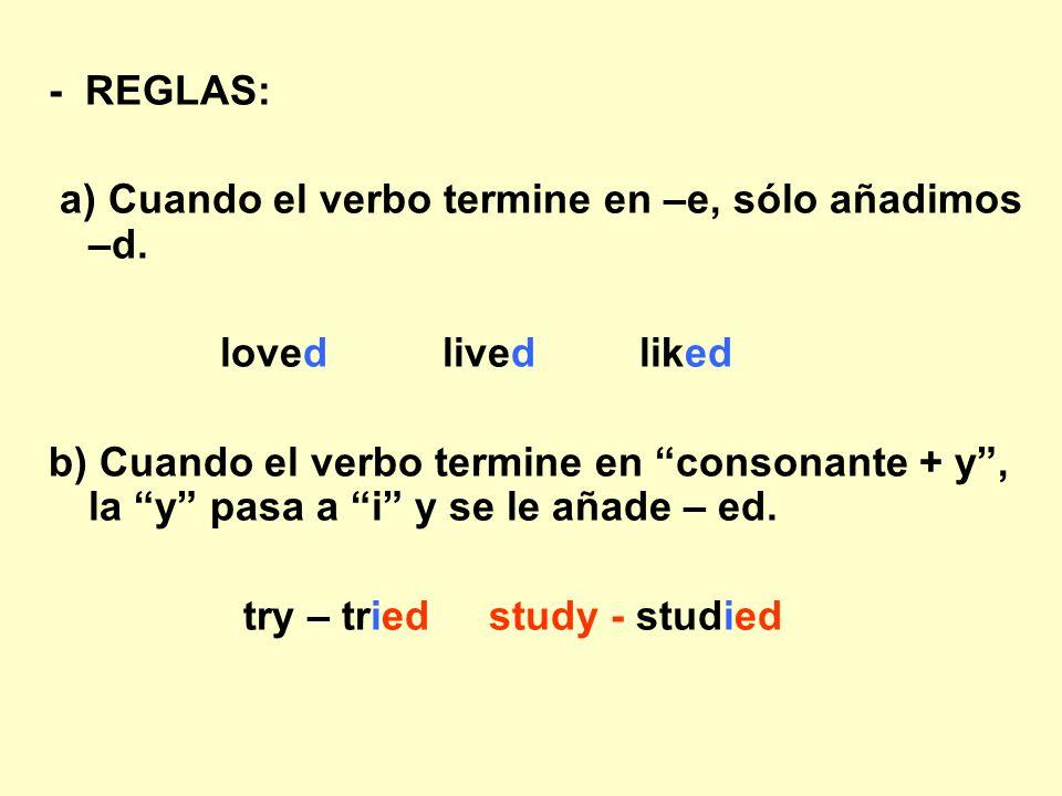 - REGLAS: a) Cuando el verbo termine en –e, sólo añadimos –d. loved lived liked.