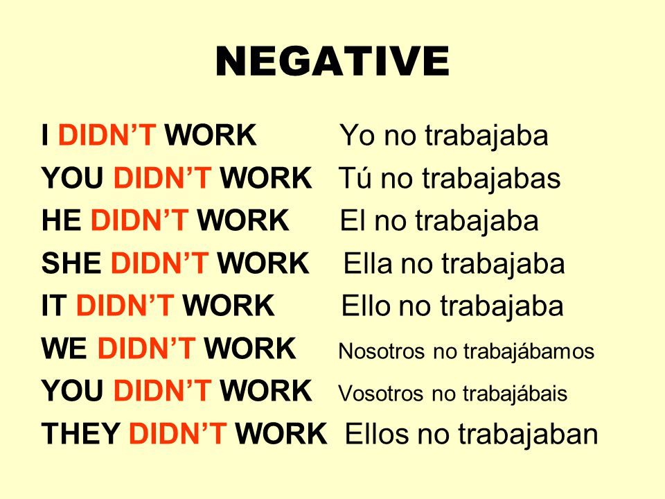 NEGATIVE I DIDN'T WORK Yo no trabajaba