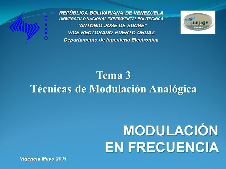 Tema 3 Técnicas de Modulación Analógica MODULACIÓN EN FRECUENCIA