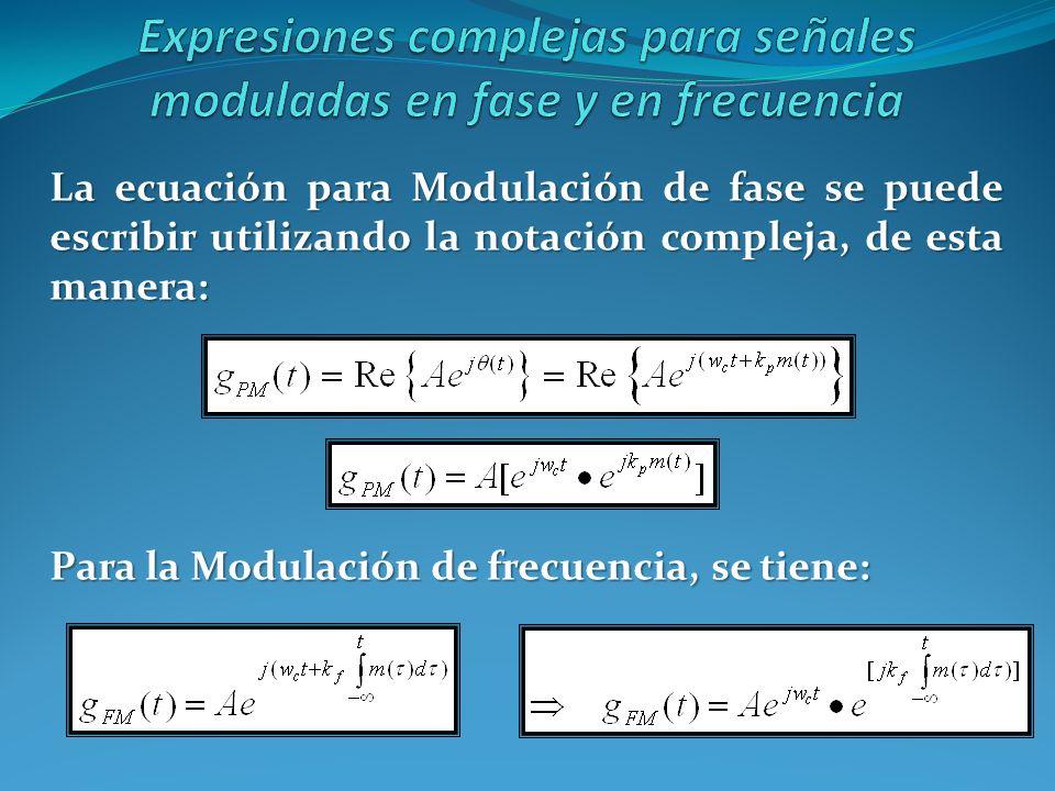 Expresiones complejas para señales moduladas en fase y en frecuencia