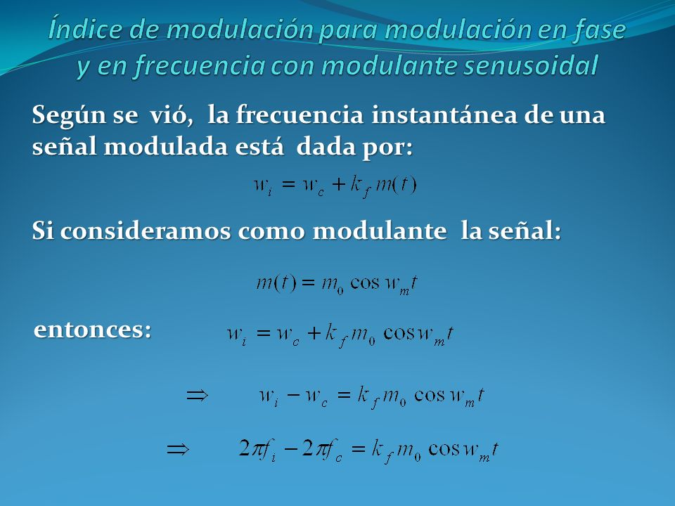 Índice de modulación para modulación en fase y en frecuencia con modulante senusoidal