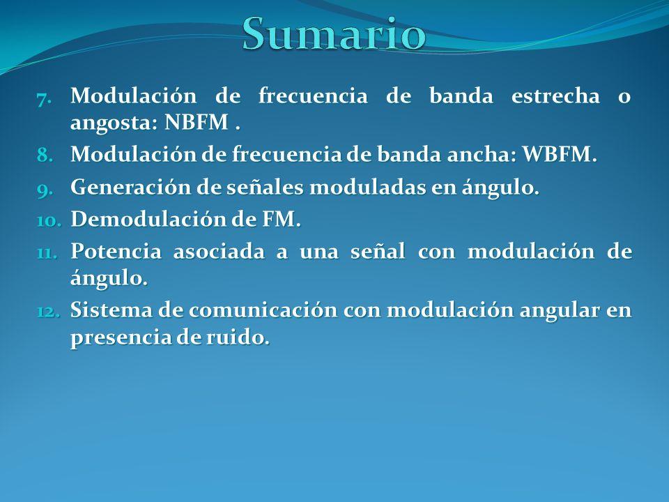 Sumario Modulación de frecuencia de banda estrecha o angosta: NBFM .