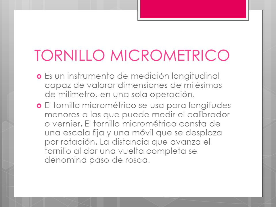 TORNILLO MICROMETRICO