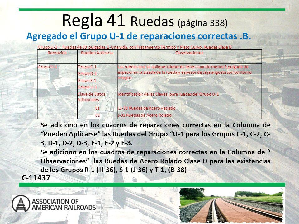 Regla 41 Ruedas (página 338) Agregado el Grupo U-1 de reparaciones correctas .B.