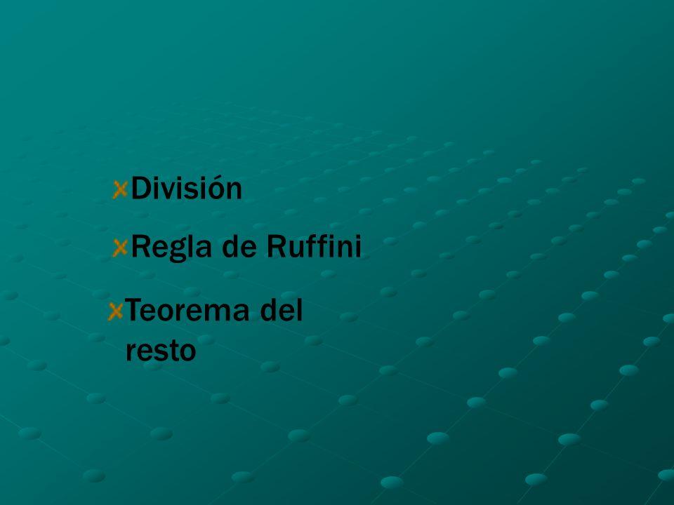 División Regla de Ruffini Teorema del resto