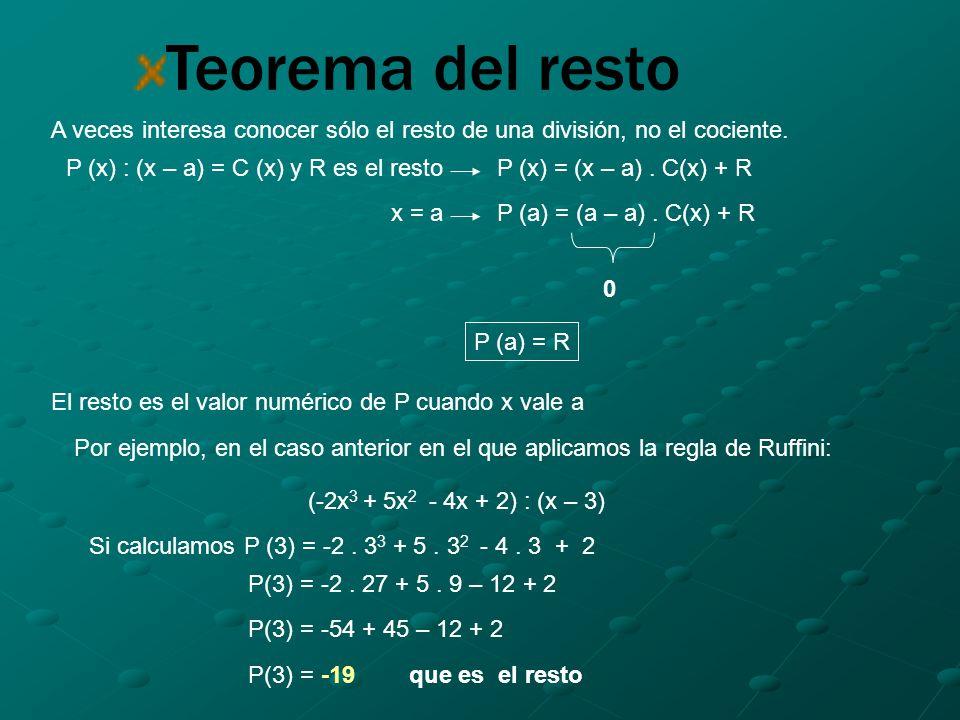 Teorema del resto A veces interesa conocer sólo el resto de una división, no el cociente.
