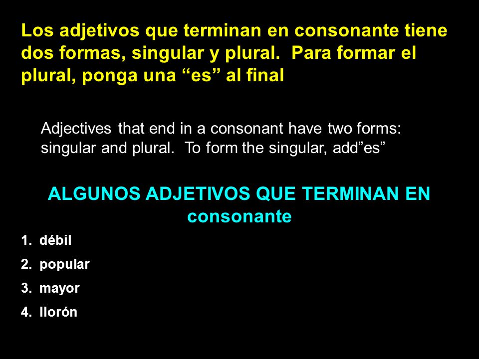 ALGUNOS ADJETIVOS QUE TERMINAN EN consonante