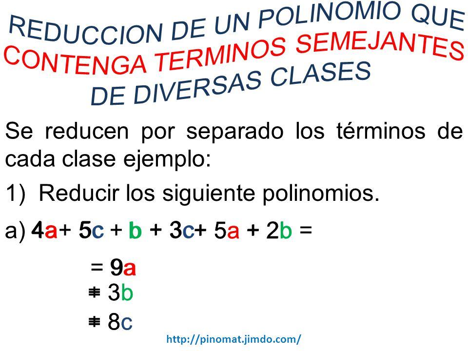 Se reducen por separado los términos de cada clase ejemplo: