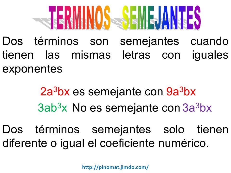 2a3bx es semejante con 9a3bx 3ab3x 3a3bx No es semejante con