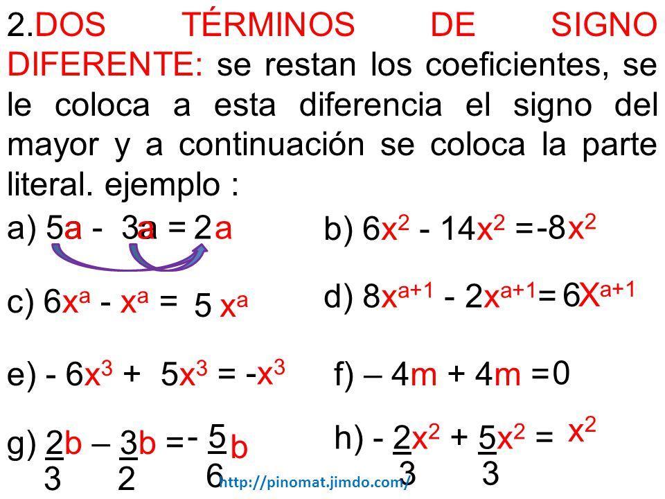 2.DOS TÉRMINOS DE SIGNO DIFERENTE: se restan los coeficientes, se le coloca a esta diferencia el signo del mayor y a continuación se coloca la parte literal. ejemplo :