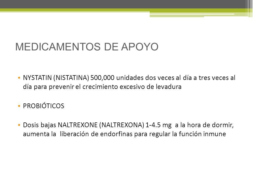 MEDICAMENTOS DE APOYO NYSTATIN (NISTATINA) 500,000 unidades dos veces al día a tres veces al día para prevenir el crecimiento excesivo de levadura.