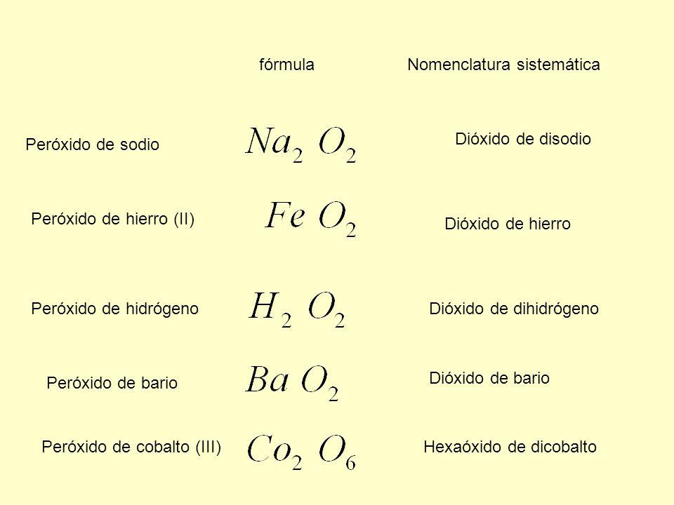 fórmula Nomenclatura sistemática. Dióxido de disodio. Peróxido de sodio. Peróxido de hierro (II)