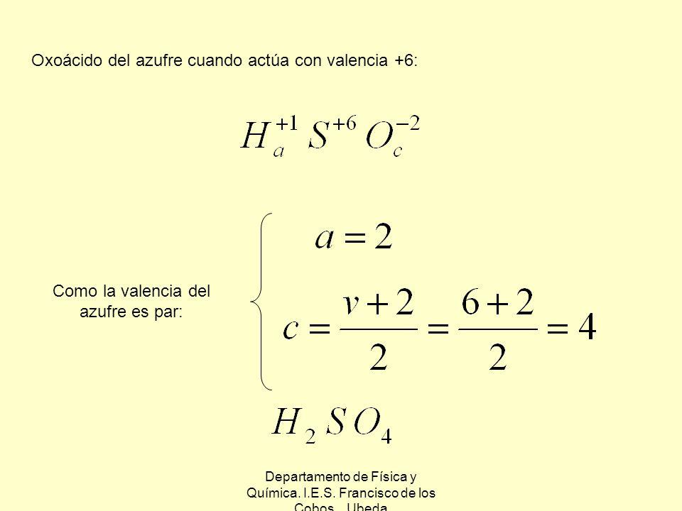 Oxoácido del azufre cuando actúa con valencia +6: