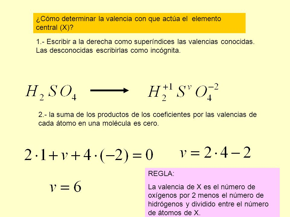 ¿Cómo determinar la valencia con que actúa el elemento central (X)