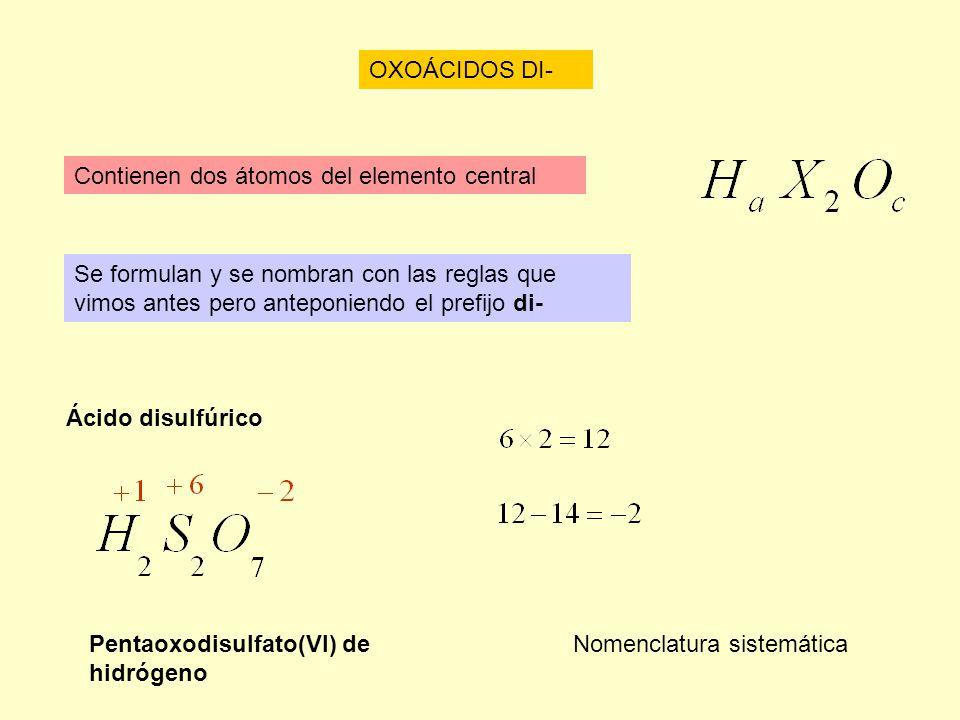 OXOÁCIDOS DI- Contienen dos átomos del elemento central. Se formulan y se nombran con las reglas que vimos antes pero anteponiendo el prefijo di-