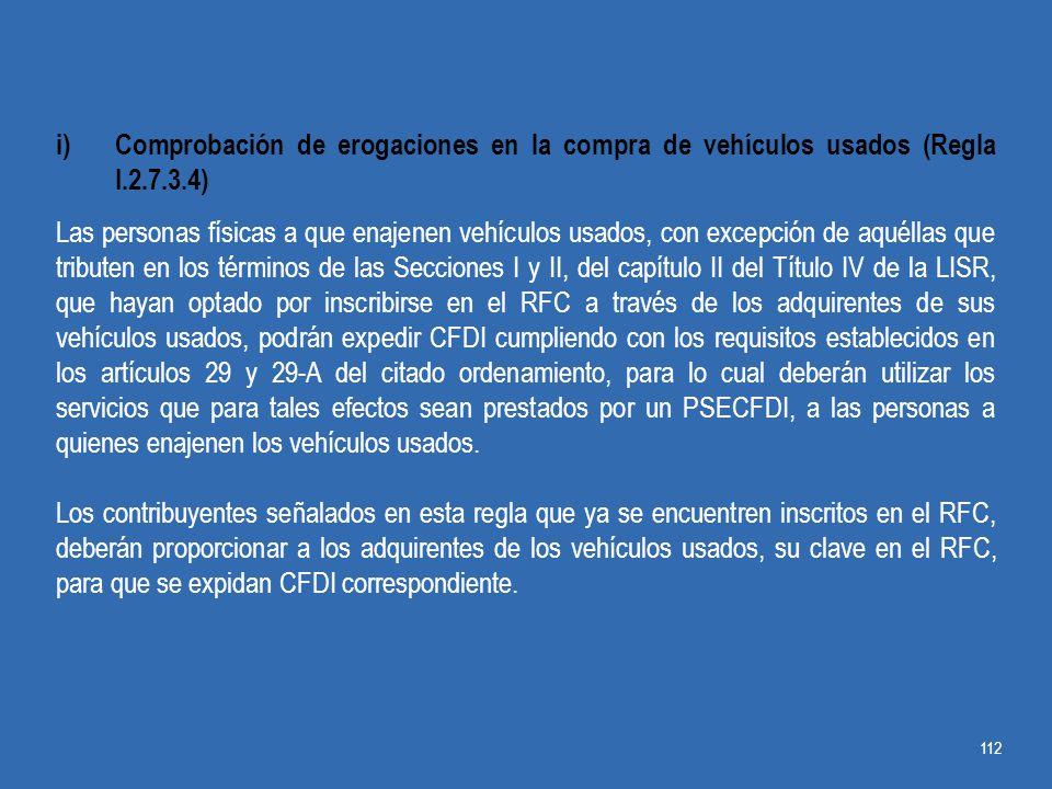 Comprobación de erogaciones en la compra de vehículos usados (Regla I