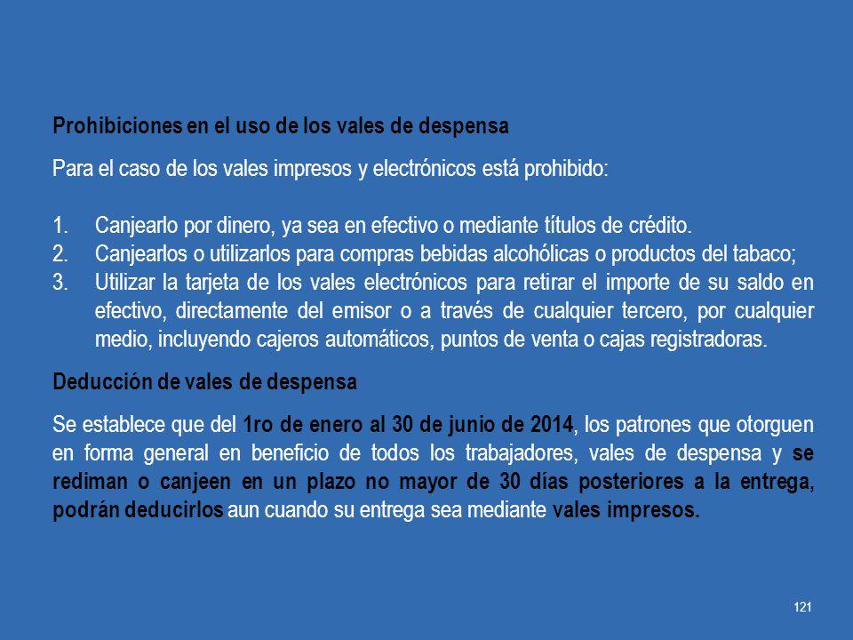 Prohibiciones en el uso de los vales de despensa