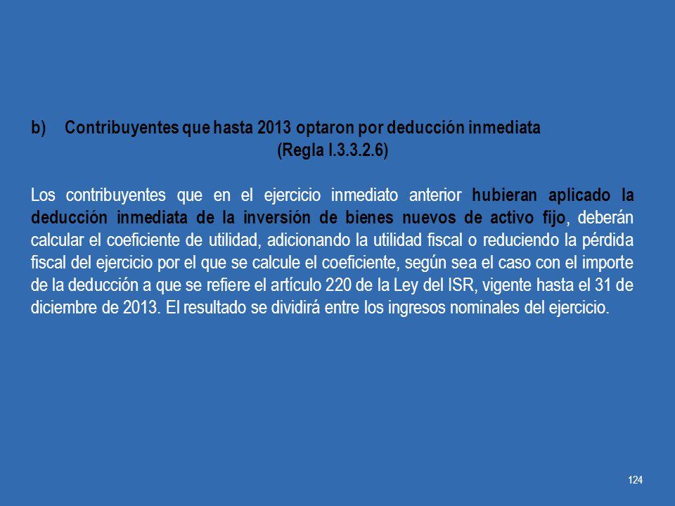 Contribuyentes que hasta 2013 optaron por deducción inmediata