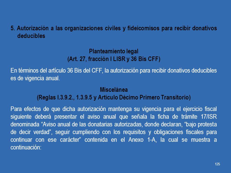 (Art. 27, fracción I LISR y 36 Bis CFF)
