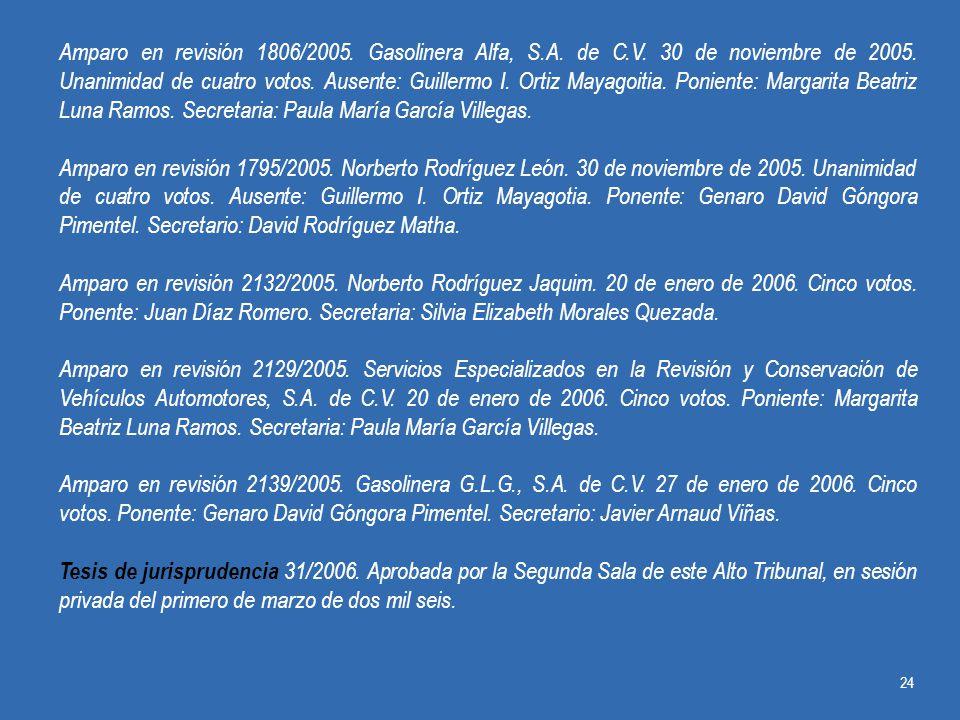 Amparo en revisión 1806/2005. Gasolinera Alfa, S. A. de C. V