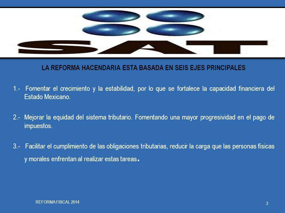 LA REFORMA HACENDARIA ESTA BASADA EN SEIS EJES PRINCIPALES