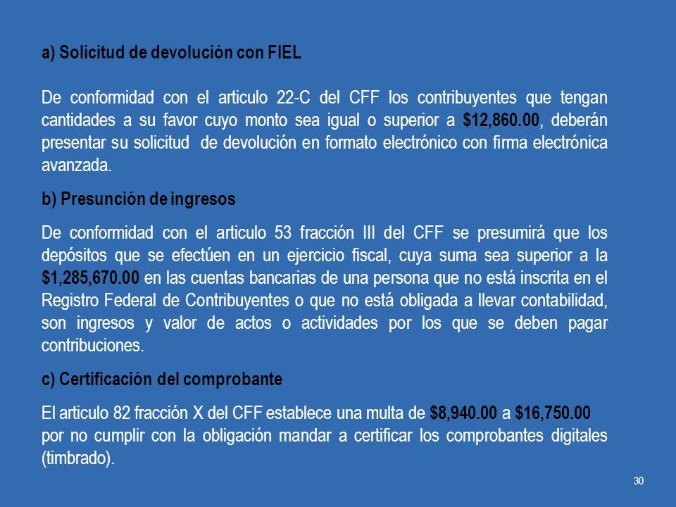 a) Solicitud de devolución con FIEL