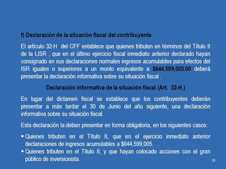 Declaración informativa de la situación fiscal (Art. 32-H.)