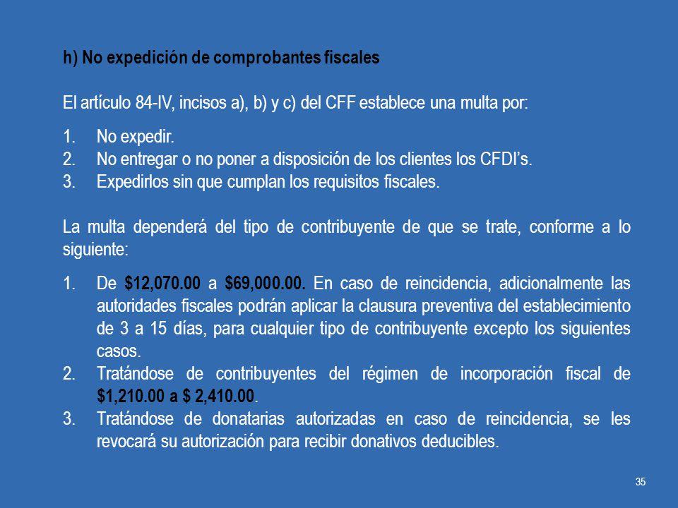 h) No expedición de comprobantes fiscales