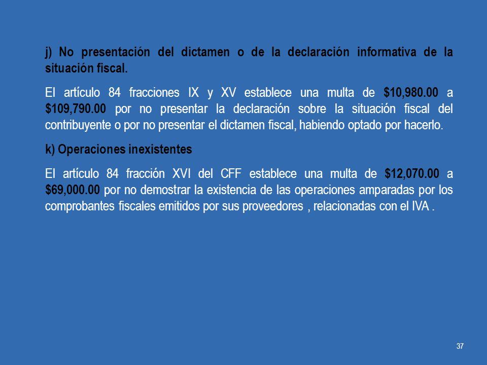 j) No presentación del dictamen o de la declaración informativa de la situación fiscal.
