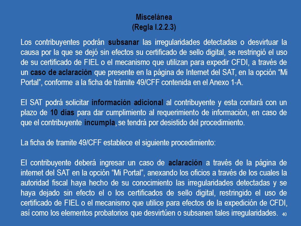 Miscelánea (Regla I.2.2.3)