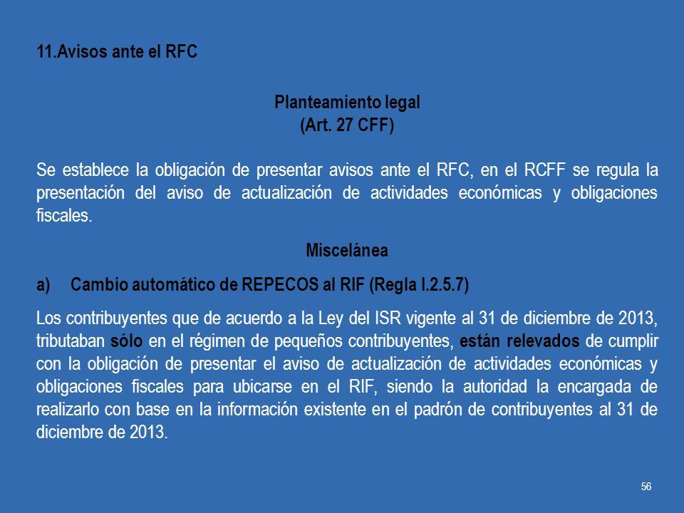 11.Avisos ante el RFC Planteamiento legal. (Art. 27 CFF)