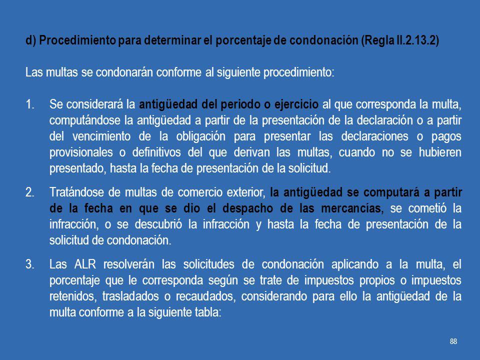 d) Procedimiento para determinar el porcentaje de condonación (Regla II.2.13.2)