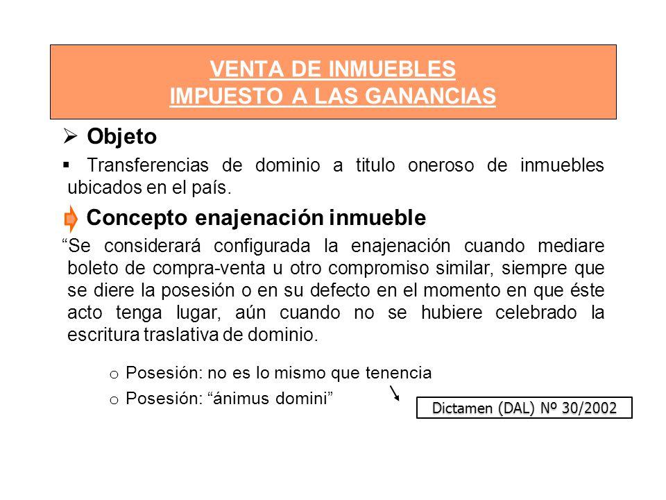 VENTA DE INMUEBLES IMPUESTO A LAS GANANCIAS