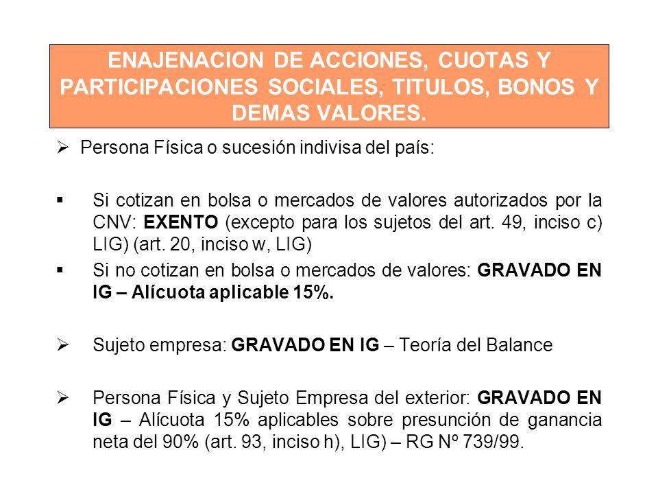 ENAJENACION DE ACCIONES, CUOTAS Y PARTICIPACIONES SOCIALES, TITULOS, BONOS Y DEMAS VALORES.