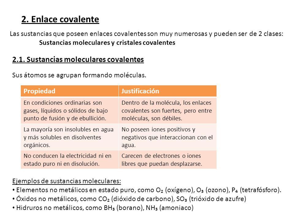 2. Enlace covalente 2.1. Sustancias moleculares covalentes