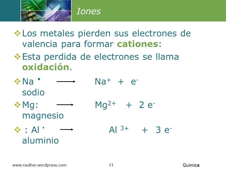 Los metales pierden sus electrones de valencia para formar cationes: