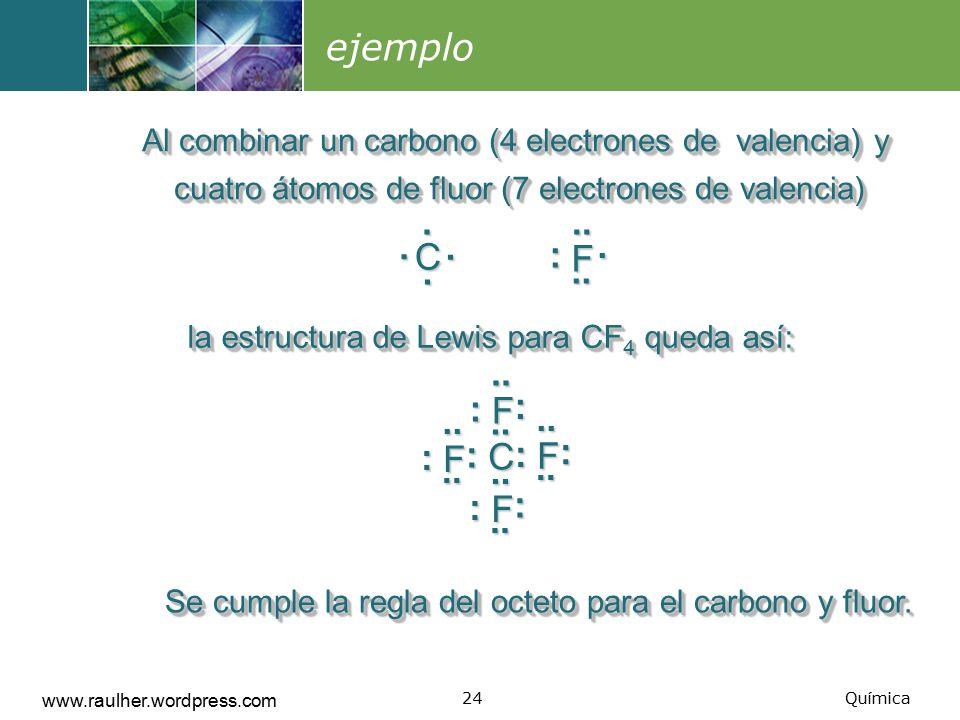 ejemplo Al combinar un carbono (4 electrones de valencia) y cuatro átomos de fluor (7 electrones de valencia)